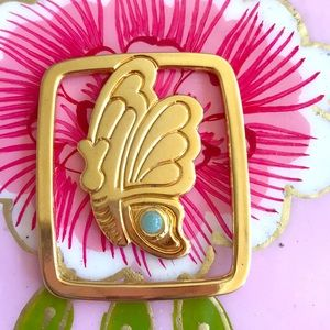 Judith Leiber moneyclip/bookmark, butterfly jade